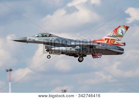 Fairford / United Kingdom - July 12, 2018: Netherlands Air Force Special Livery Lockheed F-16am Figh