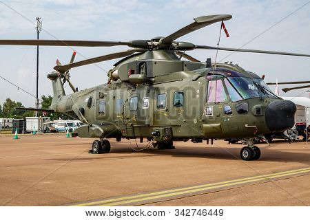 Fairford / United Kingdom - July 13, 2018: Royal Navy Eh-101 Merlin Hc3a Zk001 Helicopter Static Dis