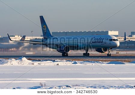 Frankfurt / Germany - December 8, 2012: Condor Boeing 757-300 D-abol Passenger Plane Departure At Fr