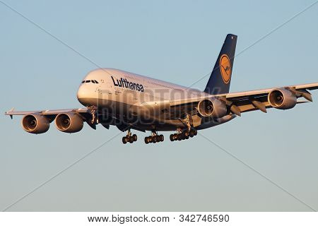 Frankfurt / Germany - December 8, 2012: Lufthansa Airbus A380 D-aimf Passenger Plane Landing At Fran