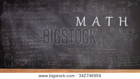 School blackboard with math formulas and equations and text math