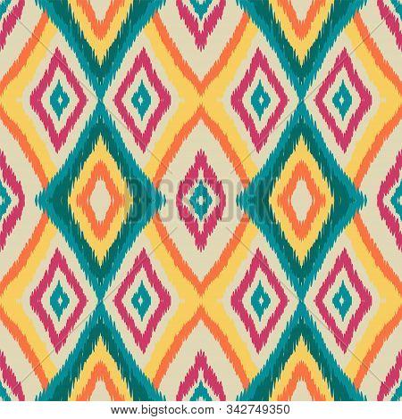 Cobalt Tribal Vector Seamless Pattern. Japan Drawn Tribal Design. Scarlet Retro Batik Wallpaper. Abs