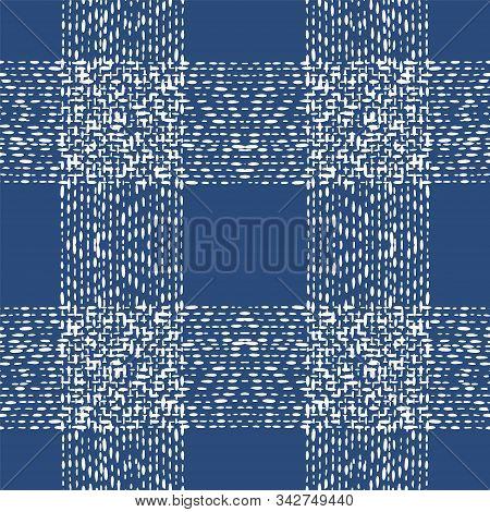 Ocean Shibori Watercolor Vector Seamless Pattern. Cold Fabric Ikat Indian Print. Cobalt Trendy Tile