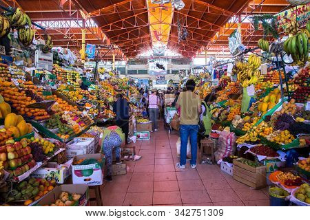 Arequipa, Peru - October 20, 2015: People Inside The Huge San Camillo Market Building.