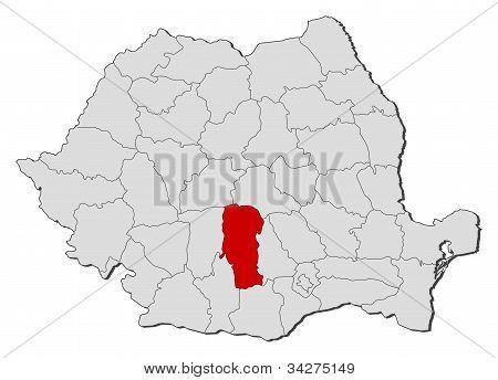 Karta över Rumänien, Argeş markerat