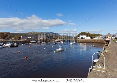 Porthmadog Wales harbour with boats in Welsh coastal town east of Criccieth near Snowdonia National