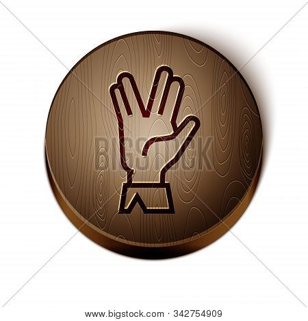 Brown Line Vulcan Salute Icon Isolated On White Background. Hand With Vulcan Greet. Spock Symbol. Wo
