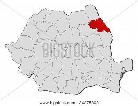 Karta över Rumänien, Iasi belyst