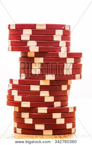 Poker Casino Chips Stacks Close Up. Casino Concept, Risk, Chance, Good Luck Or Gambling. Detail Of C