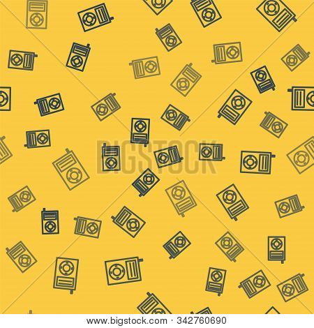 Blue Line Music Mp3 Player Icon Isolated Seamless Pattern On Yellow Background. Portable Music Devic