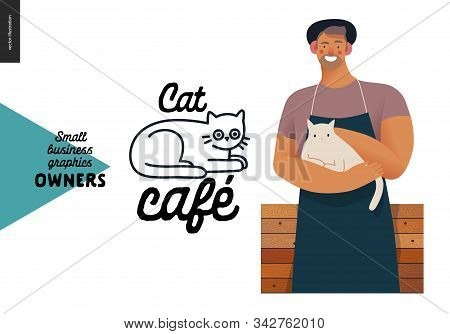 Cat Cafe -small Business Owners Graphics -owner With A Cat. Modern Flat Vector Concept Illustrations