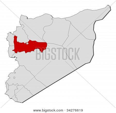 Political map of Syria with the several governorates where Hama is highlighted. poster