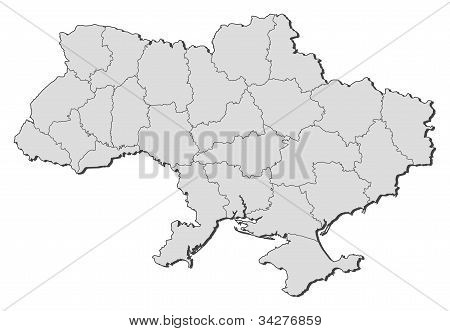Political map of Ukraine with the several oblasts. poster