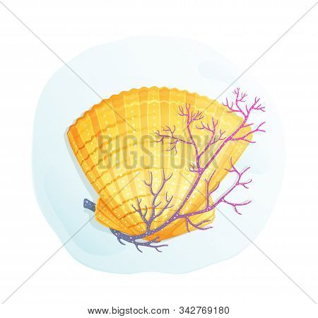 Seashell Ammonite With Coral Exotic Composition Hand Drawn In Watercolor Style Vector Design.