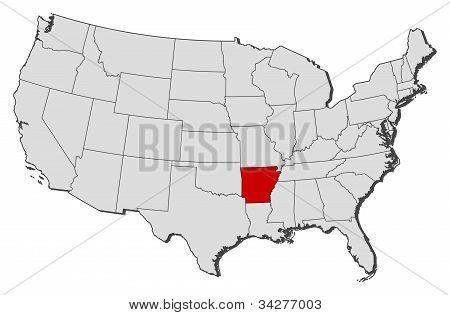 Karta över USA, Arkansas belyst