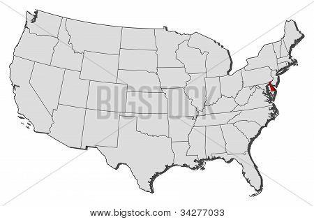 Karta över USA, Delaware belyst