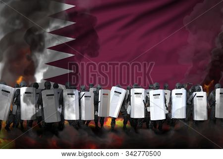 Qatar Police Squad In Heavy Smoke And Fire Protecting State Against Revolt - Protest Stopping Concep