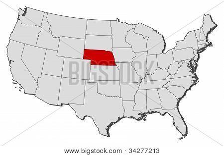 Karta över USA, Nebraska belyst