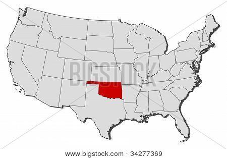 Karta över USA, Oklahoma belyst