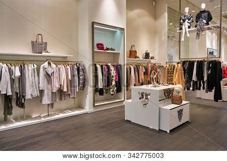 BERLIN, GERMANY - CIRCA SEPTEMBER, 2019: interior shot of Marc Cain store in Berlin.