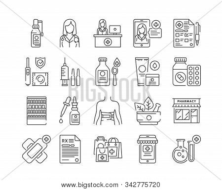 Pharmacy Black Icons Set. Medical Clinic Communication With Patient And Medicaments. Signs For Web P