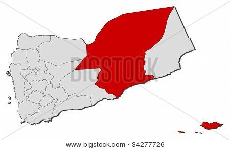 Political map of Yemen with the several governorates where Hadhramaut is highlighted. poster