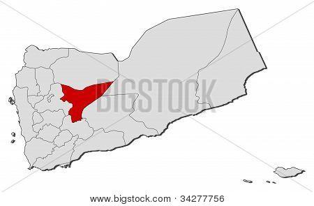 Mapa z Jemenu, Marib zvýrazněny