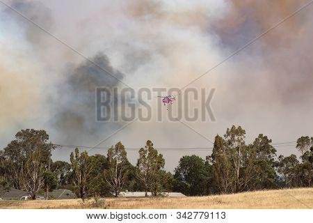 Bundoora, Australia - December 30, 2019: Erickson Air Crane Helicopter N243ac (sikorsky S-64) Flying