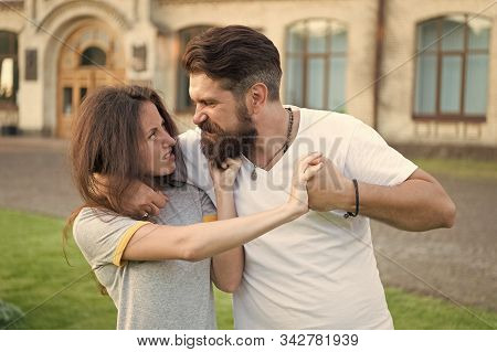 Stop It. Brutal Hipster Fighting With Pretty Woman. Violence Concept. Violence Against Women. Stop V