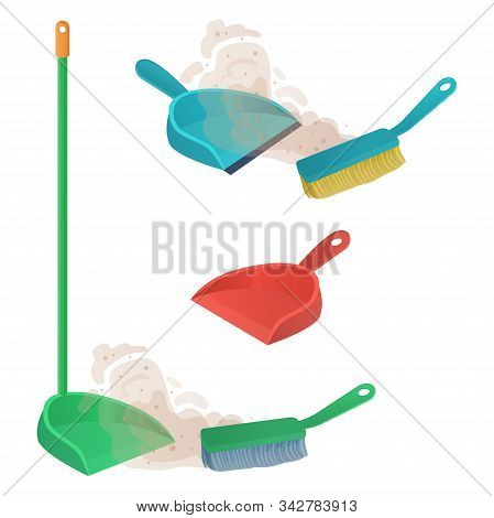 Cartoon Plastic Scoop Set. Brush Sweeps Dust And Dirt On Dustpan. Housework, Cleaning Services, Hous