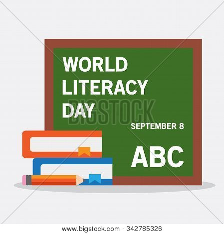 World Literacy Day Illustration Flat, Whiteboard, Book, Pencil, World Literacy Day September 9th, Fo