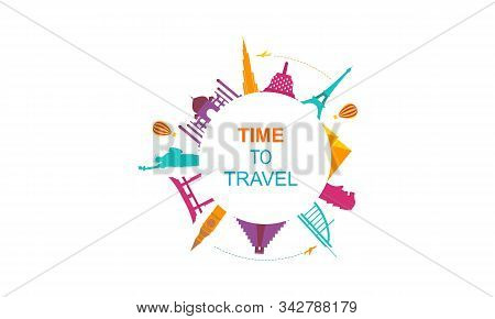Travel Time Logo With Famous Buildings Illustration Logo