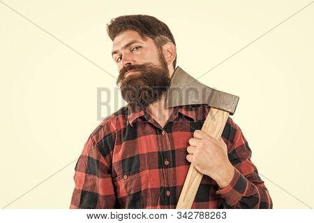 Brave Enough. Brutal Lumberjack. Cutting Wood. Sharp Blade. Brutality And Masculinity. Bearded Lumbe