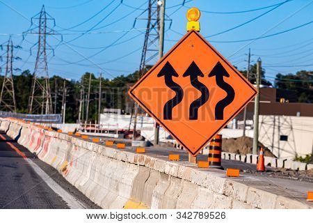 Temporary Detour From Normal Traffic Route, Three Lines Road, Temporary Condition Signs On Road Ceme