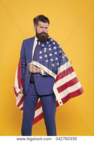 National Pride. Bearded Man Wearing National Flag Of The Usa On Formalwear. Confident Businessman Ce