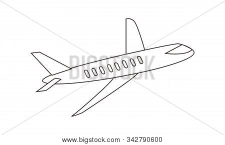 Plane Coloring Book Transportation To Educate Kids. Learn Colors Pages