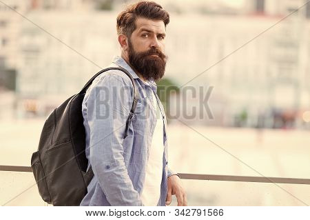 Looking More Brutal. Brutal Caucasian Man With Long Beard On Urban Background. Brutal Hipster Wearin