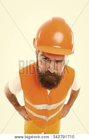 Worker Builder Confident And Successful. Protective Equipment Concept. Builder Enjoy Success. Strong