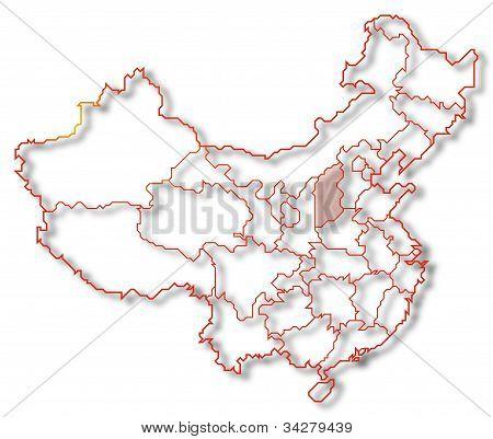 Map Of China, Shanxi Highlighted