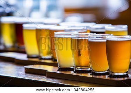 Flight Of Craft Four Of Different Beers Glasses On Wooden Tray During A Tasting Session Close Up Sel