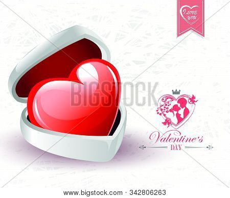 A Light Composition With A White Casket, A Red Heart And Silhouettes Of Lovers Boy And Girl