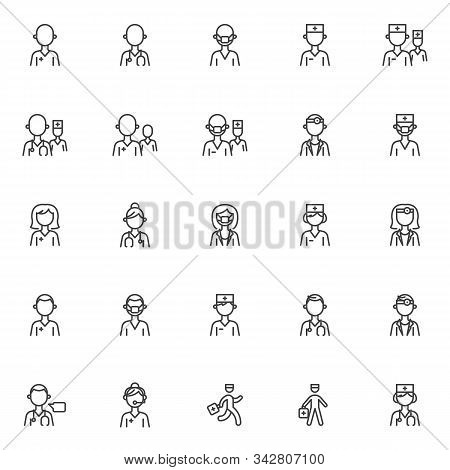 Doctor Characters Line Icons Set. Linear Style Symbols Collection, Outline Signs Pack. Vector Graphi