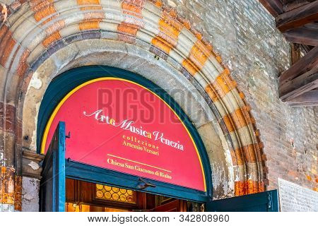 Venice, Italy - November 02 2018: Museum For Collection Of Ancient Musical Instruments Inside The Ch