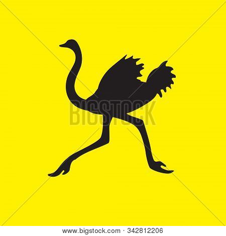 The Silhouette Of An Ostrich Bird Flees On A Yellow Isolated Background. Vector Image Eps 10
