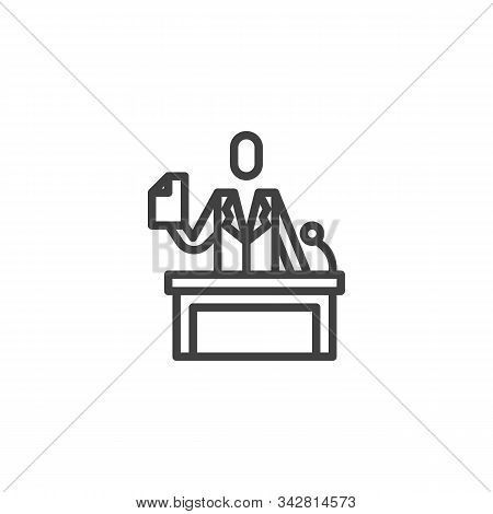 Legal Defence, Lawyer On Podium Line Icon. Linear Style Sign For Mobile Concept And Web Design. Advo