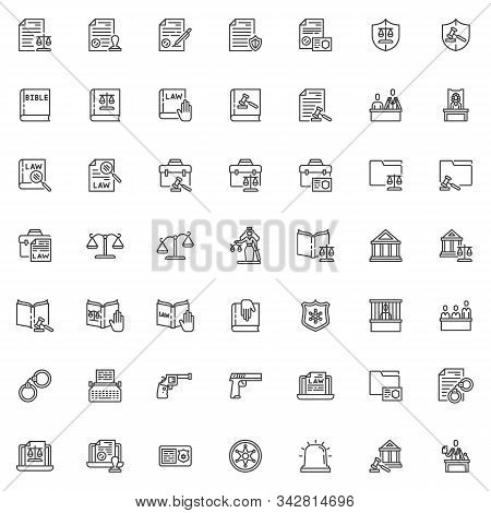 Law And Justice Line Icons Set. Judgement Linear Style Symbols Collection Outline Signs Pack. Vector