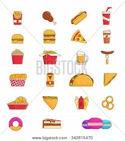 Fast Food Thin Line Icon Set Of Junk Snack. Hamburger, Pizza And Hot Dog, Meat Sandwich, Donut And C