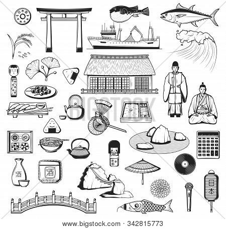 Japanese Vector Icons With Culture, Travel And Food Symbols Of Japan. Pagoda, Fish And Lantern Sketc