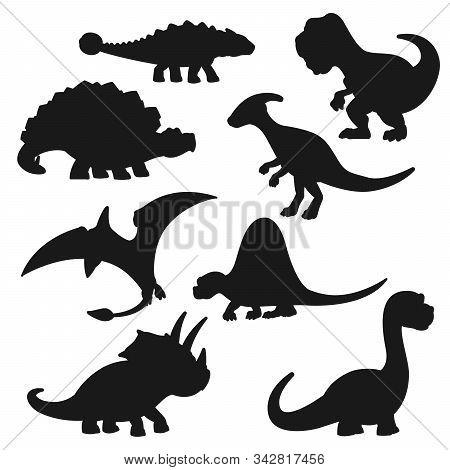 Black Dinosaur Silhouettes . Vector Triceratops, Tyrannosaurus, Stegosaurus And Brontosaurus, Pterod