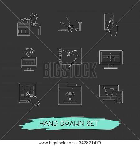 Set Of Web Design Icons Line Style Symbols With Sort Keywords, Sketchbook, Error Page And Other Icon